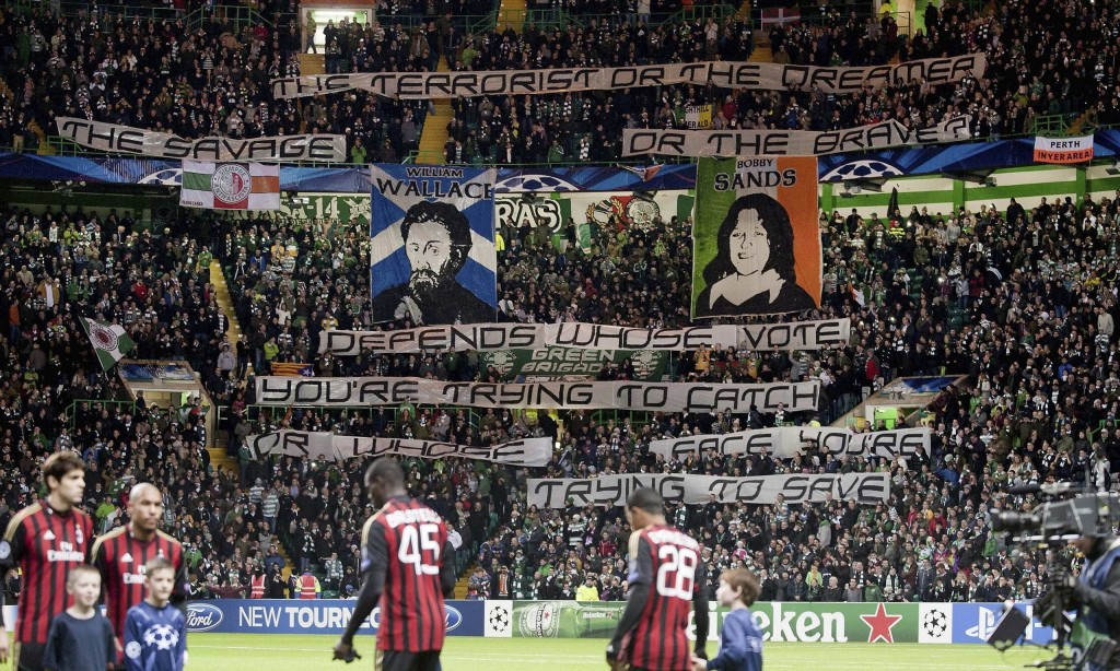 Celtic supporters displayed banners during the 3-0 Champions League defeat by Milan